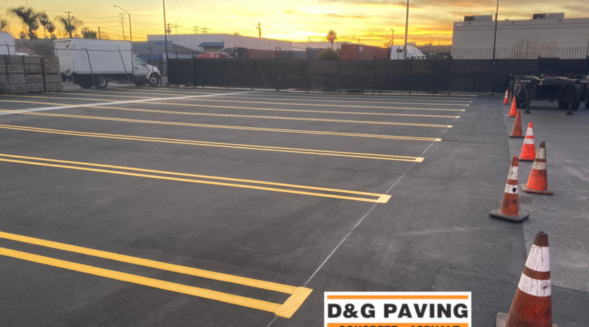 D&G Paving - Sealcoating & Striping - After sealcoating and striping a parking lot in Gardena, CA, near Rancho Dominguez
